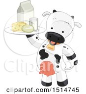 Cow Mascot Holding Up A Tray Of Dairy Products