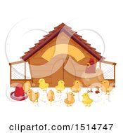 Clipart Of A Hen Watching Her Chicks By A Coop Royalty Free Vector Illustration