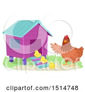 Clipart Of A Hen Telling Her Chicks To Go Into A Coop Royalty Free Vector Illustration
