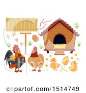 Clipart Of A Chicken Family Eggs Coop And Fencing Royalty Free Vector Illustration