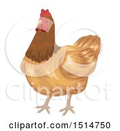 Clipart Of A Brown Hen Chicken Royalty Free Vector Illustration by BNP Design Studio