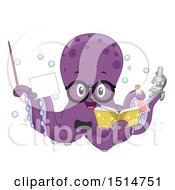 Clipart Of A Purple Octopus Teacher Holding A Pointer Stick Card Book Flask And Microscope Royalty Free Vector Illustration by BNP Design Studio