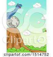 Clipart Of A Brontosaurus Dinosaur Rolling A Ball Towards A Cliff Demonstrating Potential Energy Royalty Free Vector Illustration