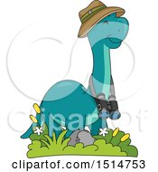 Clipart Of A Happy Brontosaurus Dinosaur Explorer With Binoculars Royalty Free Vector Illustration by BNP Design Studio