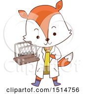 Clipart Of A Student Fox Holding A Newtons Cradle Royalty Free Vector Illustration