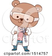Clipart Of A Cute Bear Student Holding A Vernier Caliper Royalty Free Vector Illustration