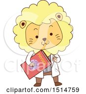 Clipart Of A Cute Male Lion Student Holding A Physics Book Royalty Free Vector Illustration by BNP Design Studio
