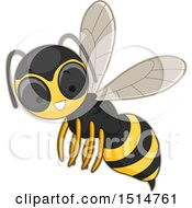Clipart Of A Happy Hornet Royalty Free Vector Illustration by BNP Design Studio