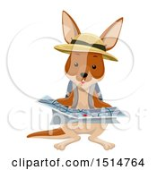 Poster, Art Print Of Kangaroo Explorer Reading A Map