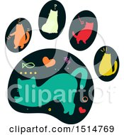 Clipart Of A Paw Print With Silhouetted Colorful Cats Royalty Free Vector Illustration