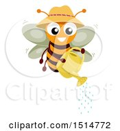 Clipart Of A Happy Bee Using A Watering Can Royalty Free Vector Illustration by BNP Design Studio
