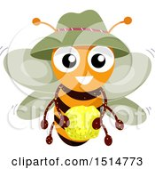 Clipart Of A Happy Bee Holding Pollen Royalty Free Vector Illustration