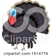 Clipart Of A Blue Headed Turkey Bird Royalty Free Vector Illustration by BNP Design Studio