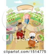 Cow Horse And Pig In A Vegetable Garden