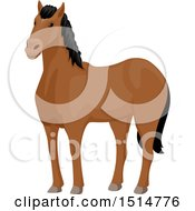 Clipart Of A Brown Horse With A Dark Mane Royalty Free Vector Illustration