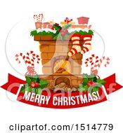 Clipart Of A Merry Christmas Greeting And Fireplace Royalty Free Vector Illustration