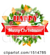 Clipart Of A Happy Merry Christmas Greeting With A Wreath Royalty Free Vector Illustration
