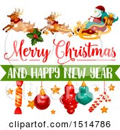 Clipart Of A Merry Christmas And Happy New Year Greeting With Santa And Reindeer Flying A Sleigh Royalty Free Vector Illustration by Vector Tradition SM