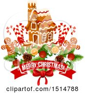 Clipart Of A Merry Christmas Greeting With A Gingerbread House And Men Royalty Free Vector Illustration by Vector Tradition SM