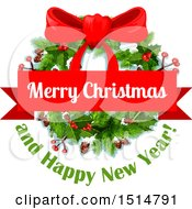 Clipart Of A Merry Christmas And Happy New Year Greeting With A Wreath Royalty Free Vector Illustration by Vector Tradition SM