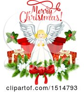 Clipart Of A Merry Christmas Greeting And Angel Royalty Free Vector Illustration
