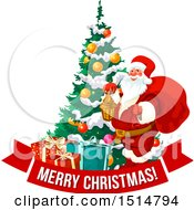 Clipart Of A Merry Christmas Greeting With Santa By A Tree Royalty Free Vector Illustration by Vector Tradition SM