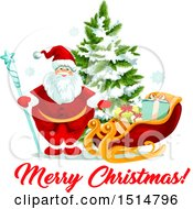 Clipart Of A Merry Christmas Greeting With Santa By A Sleigh And Tree Royalty Free Vector Illustration by Vector Tradition SM