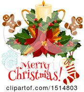 Clipart Of A Merry Christmas Greeting And Candle Royalty Free Vector Illustration