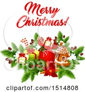 Clipart Of A Merry Christmas Greeting With Gifts And A Gingerbread House Royalty Free Vector Illustration by Vector Tradition SM