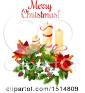 Clipart Of A Merry Christmas Greeting With Candles Royalty Free Vector Illustration