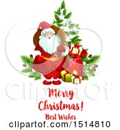 Clipart Of A Merry Christmas Best Wishes Greeting With Santa By A Tree Royalty Free Vector Illustration