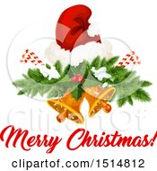 Poster, Art Print Of Merry Christmas Greeting With A Santa Hat And Bells