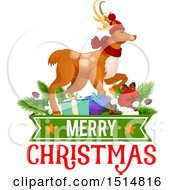 Clipart Of A Merry Christmas Greeting With A Reindeer Royalty Free Vector Illustration by Vector Tradition SM