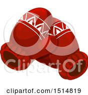 Clipart Of A Pair Of Christmas Mittens Royalty Free Vector Illustration