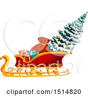 Clipart Of A Christmas Tree In Santas Sleigh Royalty Free Vector Illustration by Vector Tradition SM