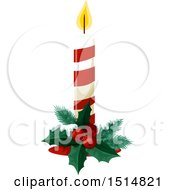 Clipart Of A Christmas Candle Royalty Free Vector Illustration