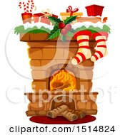 Clipart Of A Christmas Fireplace Royalty Free Vector Illustration by Vector Tradition SM
