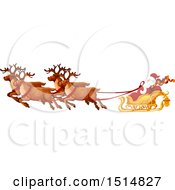 Clipart Of A Christmas Sleigh With Santa And Reindeer Royalty Free Vector Illustration by Vector Tradition SM