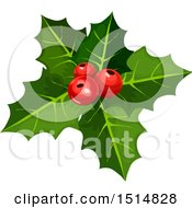 Clipart Of Christmas Holly Royalty Free Vector Illustration by Vector Tradition SM