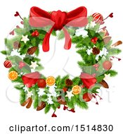 Clipart Of A Christmas Wreath Royalty Free Vector Illustration by Vector Tradition SM