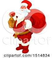 Clipart Of A Christmas Santa Claus Holding A Lantern Royalty Free Vector Illustration by Vector Tradition SM