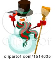 Clipart Of A Christmas Snowman Royalty Free Vector Illustration by Vector Tradition SM