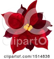 Clipart Of A Red Christmas Poinsettia Royalty Free Vector Illustration by Vector Tradition SM