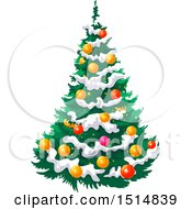 Clipart Of A Christmas Tree With Snow Royalty Free Vector Illustration by Vector Tradition SM