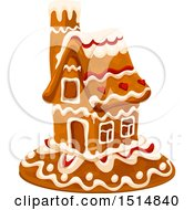 Clipart Of A Christmas Gingerbread House Royalty Free Vector Illustration by Vector Tradition SM