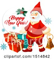 Clipart Of A Happy New Year Greeting With Santa Royalty Free Vector Illustration