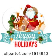 Clipart Of A Happy Holidays Greeting With Santa Royalty Free Vector Illustration by Vector Tradition SM