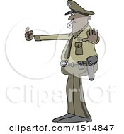 Cartoon Police Man Directing Traffic