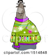 Clipart Of A Cartoon Black Man In An Ugly Christmas Sweater Royalty Free Vector Illustration