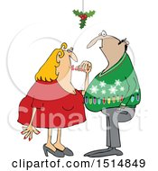 Clipart Of A Cartoon Couple Under Holly False Mistletoe Royalty Free Vector Illustration